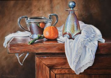 Alan M Hunt Original Oil Painting Still Life With Orange